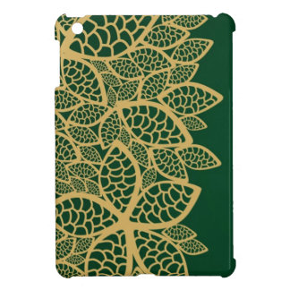 Golden leaf lace on green background iPad mini covers
