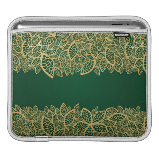 Golden leaf lace on green background iPad sleeve