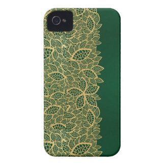 Golden leaf lace on green background iPhone 4 Case-Mate case