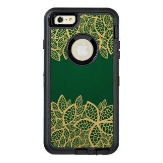 Golden leaf lace on green background OtterBox defender iPhone case