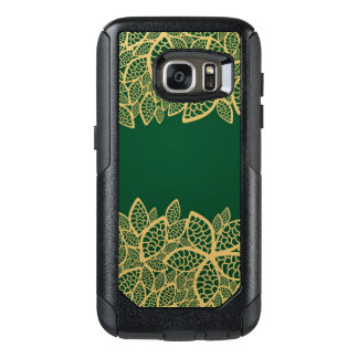 Golden leaf lace on green background OtterBox samsung galaxy s7 case
