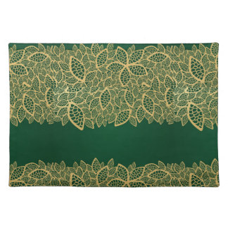 Golden leaf lace on green background placemat