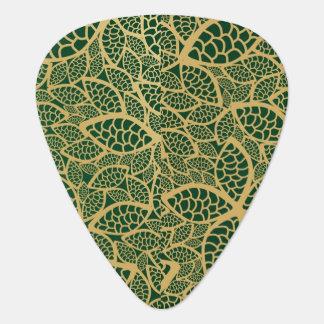 Golden leaf lace on green background plectrum