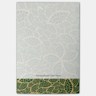 Golden leaf lace on green background post-it notes