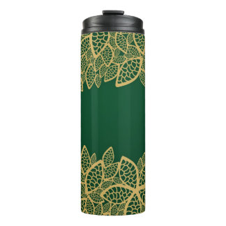 Golden leaf lace on green background thermal tumbler