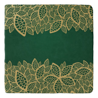 Golden leaf lace on green background trivet