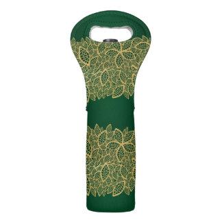 Golden leaf lace on green background wine bag