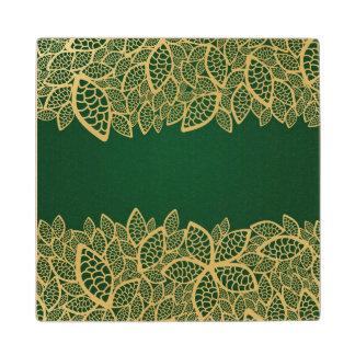 Golden leaf lace on green background wood coaster