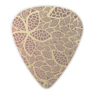 Golden leaf lace on red background acetal guitar pick