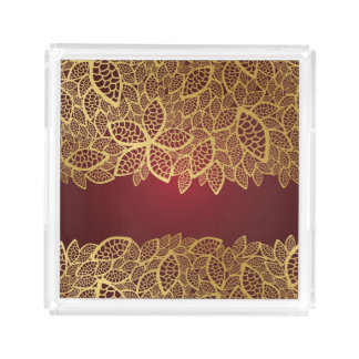 Golden leaf lace on red background acrylic tray