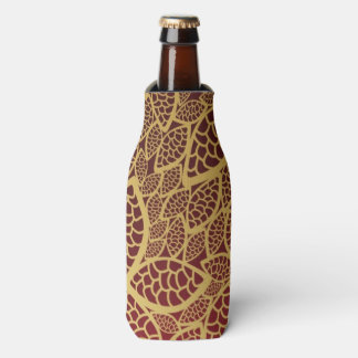 Golden leaf lace on red background bottle cooler
