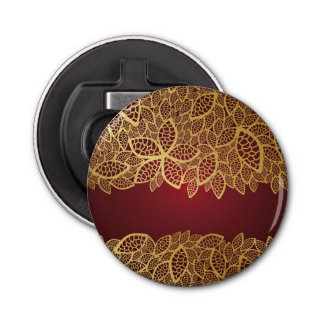 Golden leaf lace on red background bottle opener