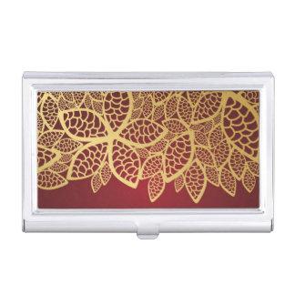 Golden leaf lace on red background business card holder