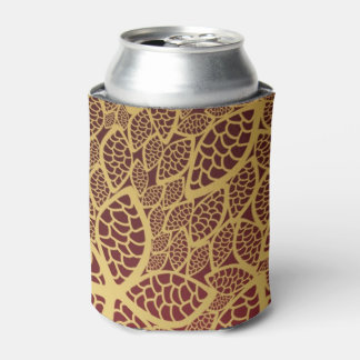 Golden leaf lace on red background can cooler