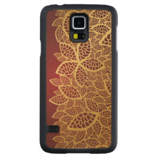 Golden leaf lace on red background carved maple galaxy s5 case