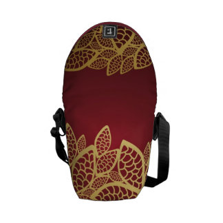 Golden leaf lace on red background commuter bags