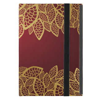 Golden leaf lace on red background cover for iPad mini