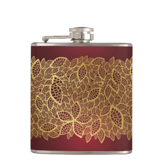 Golden leaf lace on red background flasks