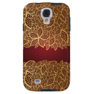 Golden leaf lace on red background galaxy s4 case