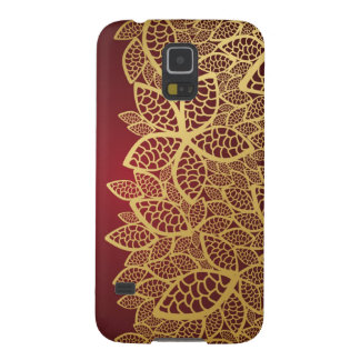 Golden leaf lace on red background galaxy s5 cases
