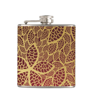 Golden leaf lace on red background hip flask
