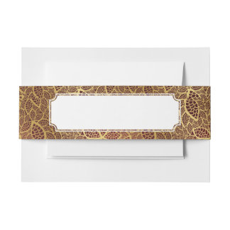 Golden leaf lace on red background invitation belly band