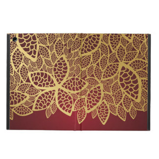Golden leaf lace on red background iPad air case