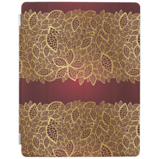 Golden leaf lace on red background iPad cover