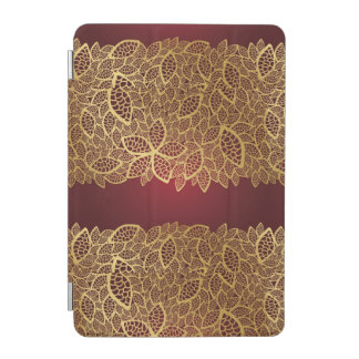 Golden leaf lace on red background iPad mini cover