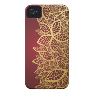 Golden leaf lace on red background iPhone 4 covers