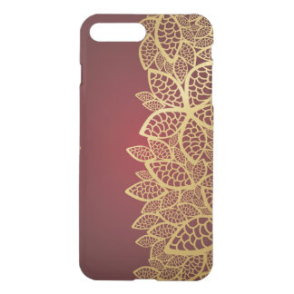 Golden leaf lace on red background iPhone 8 plus/7 plus case