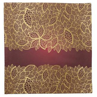 Golden leaf lace on red background napkin