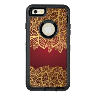 Golden leaf lace on red background OtterBox defender iPhone case