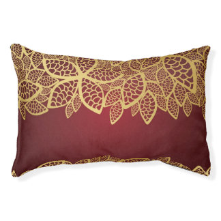 Golden leaf lace on red background pet bed