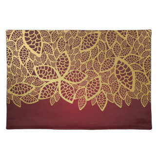 Golden leaf lace on red background placemat
