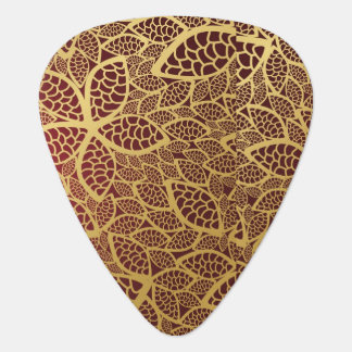 Golden leaf lace on red background plectrum