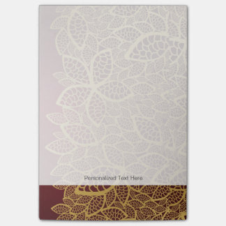 Golden leaf lace on red background post-it notes
