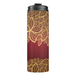 Golden leaf lace on red background thermal tumbler