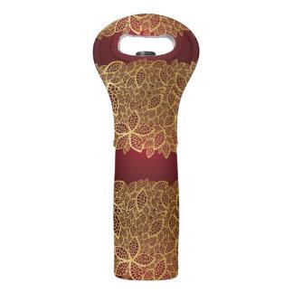 Golden leaf lace on red background wine bag
