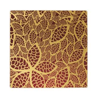 Golden leaf lace on red background wood coaster