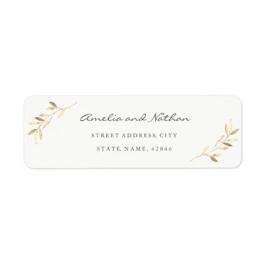 Golden Leaf Return Address Label