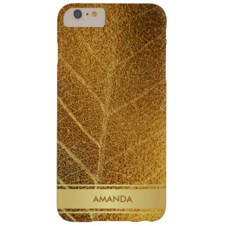 Golden Leaf Shiny Glam Minimalism Metallic Barely There iPhone 6 Plus Case
