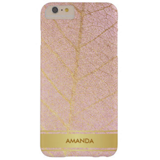 Golden Leaf Shiny Glam Minimalism Pink Barely There iPhone 6 Plus Case