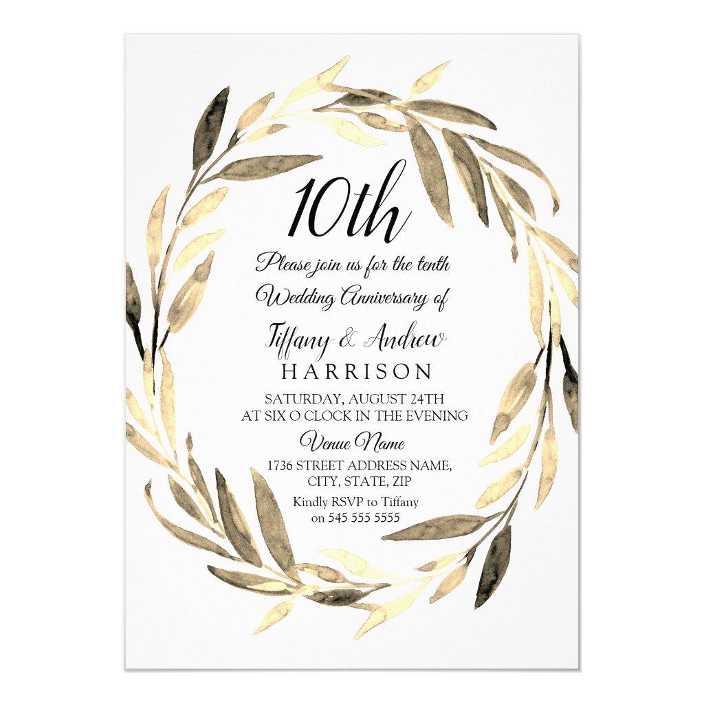 Golden Leaf Wreath 10th Wedding Anniversary Invite