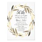 Golden Leaf Wreath 50th Wedding Anniversary Invite