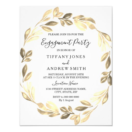 Golden Leaf Wreath Elegant Engagement Party Card