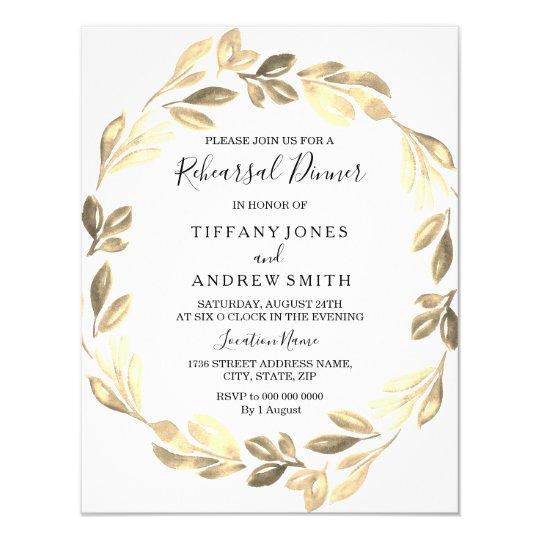 Golden Leaf Wreath Elegant Rehearsal Dinner Card