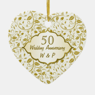 Golden leaves 50th Wedding Anniversary Ceramic Heart Decoration