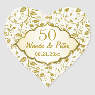Golden leaves 50th Wedding Anniversary Stickers
