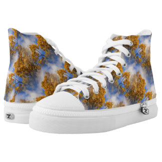 Golden Leaves Blue Sky Nature Pattern High Tops